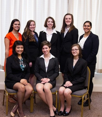North squad at the 2015 Nationals competition in North Carolina (1st row: Natalie Nava '16, Aubrey Hills '15, Katherine Milano '16; 2nd row: Shelby Clark (Coach) '12, Chelsea Divins '16, Ariana Canby '15, Alex Murray '17, Baani Kharana '15)