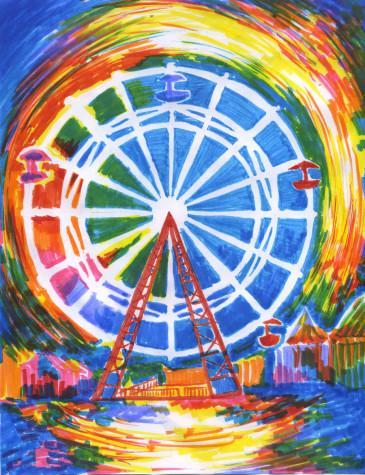 A rendition of a popular amusement park ride, the Ferris Wheel.