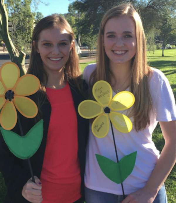 Seniors Michaela Wuycheck and Madelyn Addison at the Walk to End Alzheimer's.