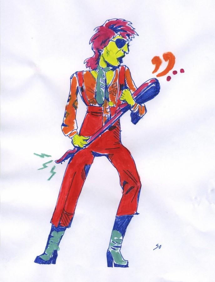A depiction of the legendary David Bowie.