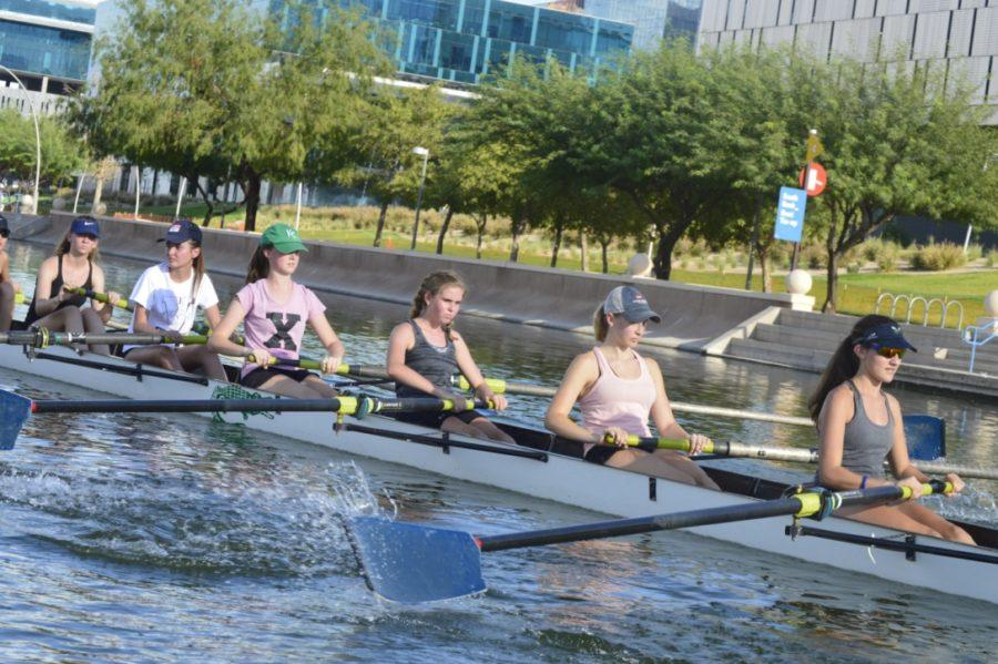 Rowers practice in Tempe Town Lake.