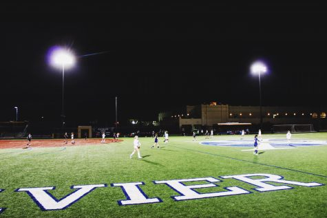 The Xavier soccer team battling it out on the field for another win.