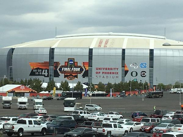 The Final Four logo is displayed on the University of Phoenix stadium, where the basketball games will be held.