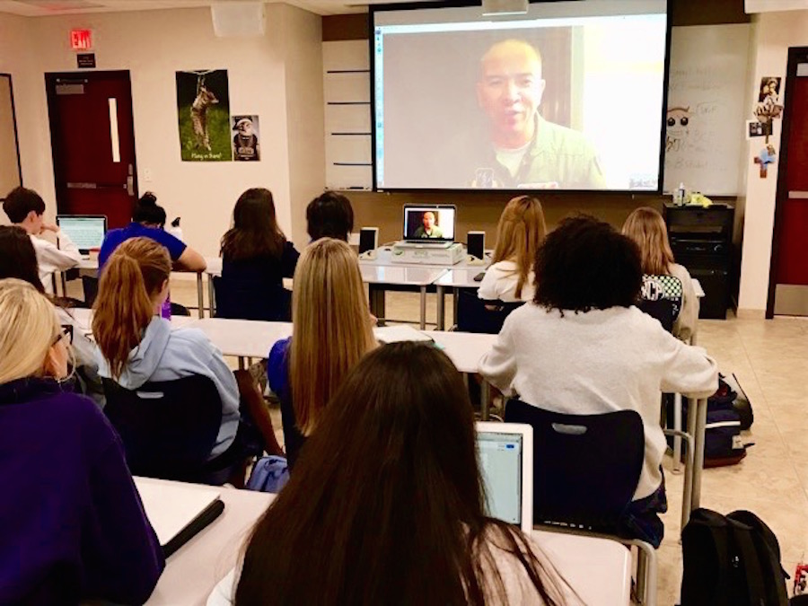 The Broadcast Journalism class skyping Savanna Olivas '18's father, Lt. Col. Olivas, on Monday, August 21, 2017.