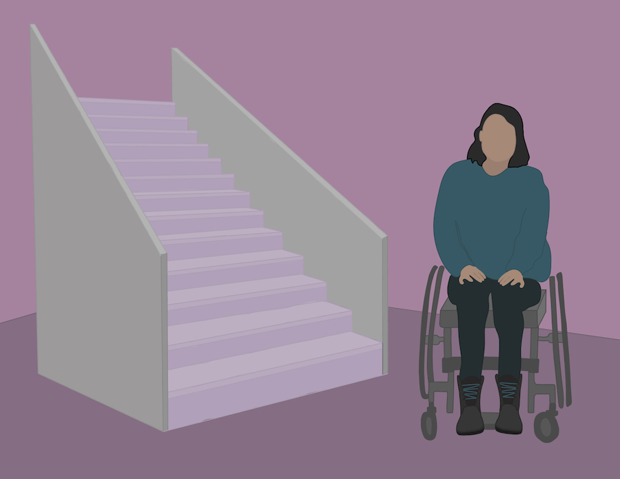 A girl in a wheelchair next to a flight of stairs.