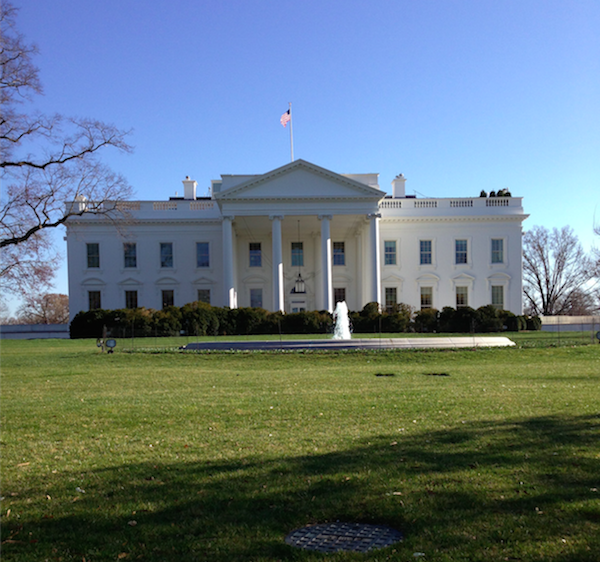 """A photo of the White House, the residence and office of the President of the United States as well as White House officials, taken in April of 2013. Every President since John Adams has lived in the White House, even after the burning of the original """"Presidential Mansion"""" by the British in the War of 1812."""
