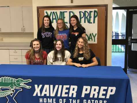 Xavier athletes who signed their National Letters of Intent on Nov. 8, 2017. In the top row is volleyball player Caroline White (left), swimmer Katie McKoy and basketball player Montana Oltrogge (right). In the bottom row is sand volleyball player Kailey Klein (left), softball player Melissa Fedorka and volleyball player Alyna Draper (right).