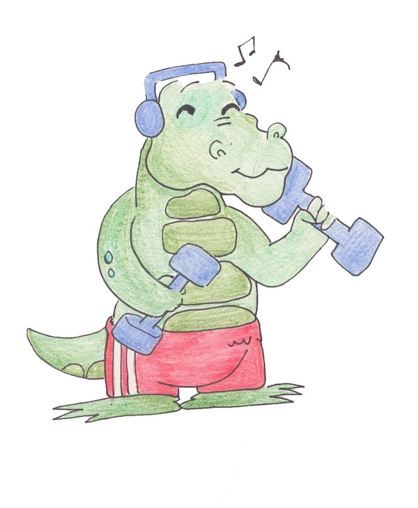 A cartoon gator with red gym pants lifts weights while listening to music.