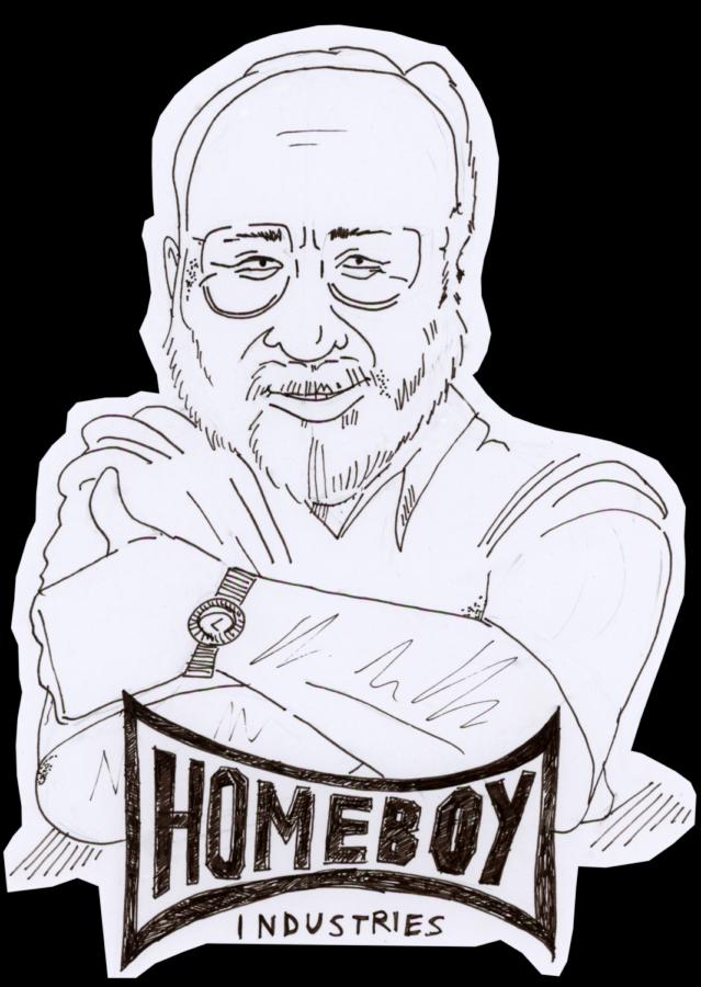 An original illustration of Fr. Boyle, founder of Homeboy Industries.