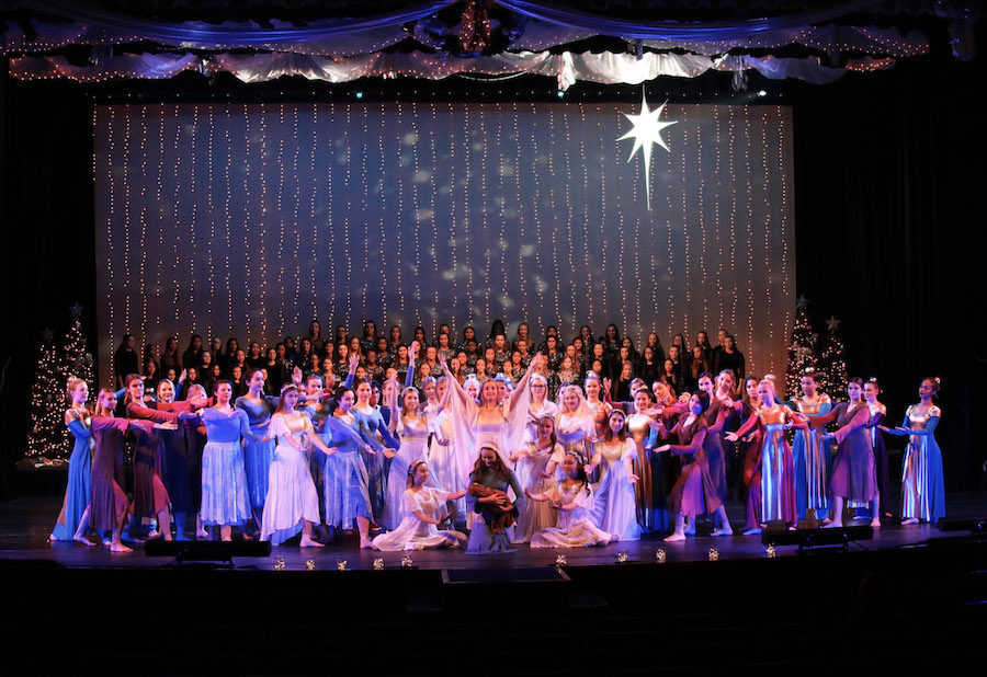 Jacqueline+Johnson+%28center%29+and+Grace+McClain+%28above+Johnson%29+onstage+surrounded+by+Xavier+dancers+at+the+fifteenth+annual+Christmas+pageant+in+the+Virginia+G.+Piper+Performing+Arts+Center+on+Friday%2C+Dec.+1%2C+2017.