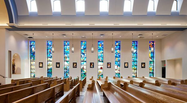 The beautiful stained glass windows lining the Xavier Chapel. This is a great place to go and reflect on new years intentions.