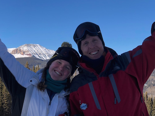 Junior Marybeth Bonner and her dad enjoy time together at the Dad's Club ski trip.