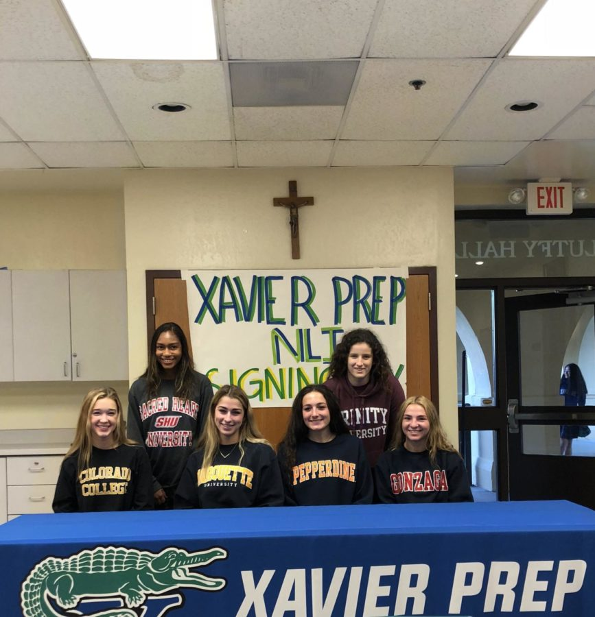 Top: Jessie Simmons, Kaity Ward  Bottom: Abby Hubbard, Madeline Warren, Kinsey Ehmann, Hannah Hale  February 7, 2018, National Letter of Intent Signing Day at Xavier College Preparatory