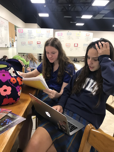 Juniors Marybeth Bonner and Maddie Dinowitz study for their upcoming finals.