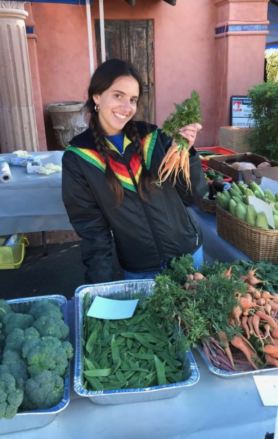 Senior Maddie Dinowitz works at local Farmers Market
