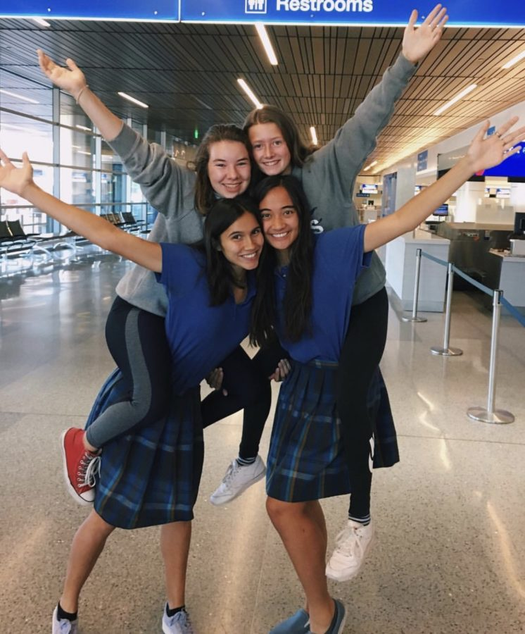 Seniors+Janna+Hynds+and+Karina+Hawkins+saying+goodbye+to+their+new+German+friends+at+the+airport+on+Sept.+21