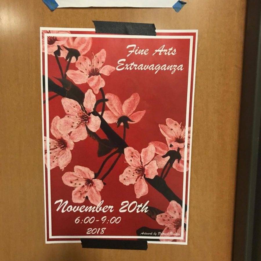 The Fine Arts Extravaganza poster hanging at Brophy during the week leading up to Nov. 20. FAE showcases talents from both Xavier and Brophy artists