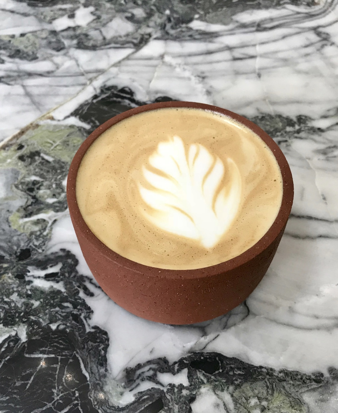 At Futuro, the mocha is decorated with creamy milk latte art in the Phoenix, Arizona location.