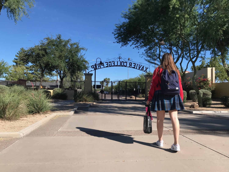 Senior Brisa Footit leaving the Xavier College Preparatory campus