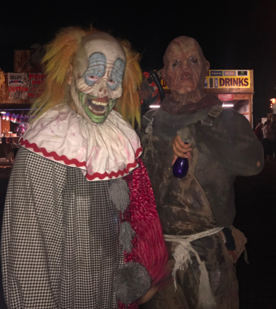 Hannah Zurbriggen '20 visited Fear Farm this Oct. and encountered two actors, dressed as a clown and a zombie, who scare guests at Fear Farm's abandoned town in Phoenix. The actors are part of the popular Undead and Slaughterhouse attractions.