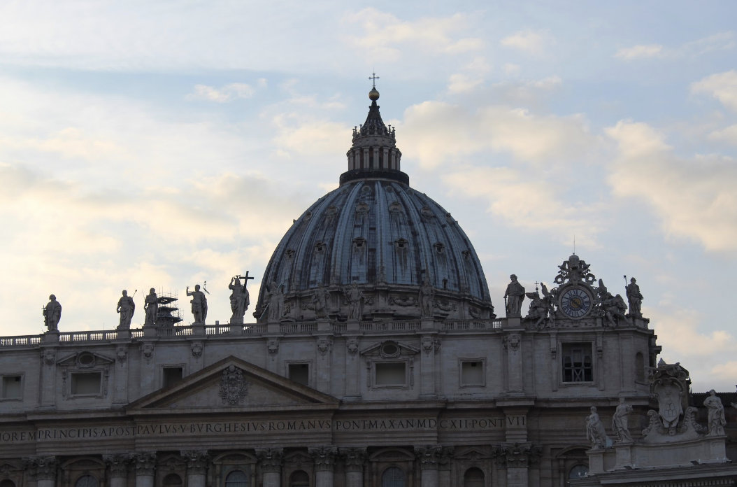 St. Peter's Basilica's Dome before sunset. Photo courtesy of Sienna Martinez '21 .