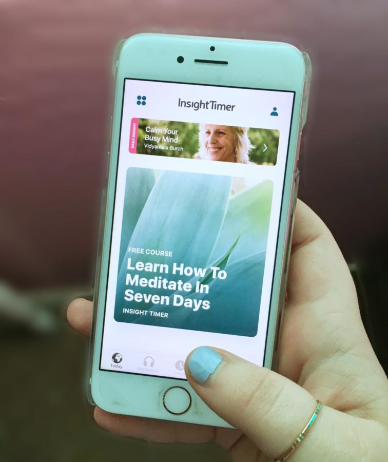 Insight Timer, a popular guided meditation app, is available for both Apple and Android. Photo courtesy of Hannah Shulski 19.