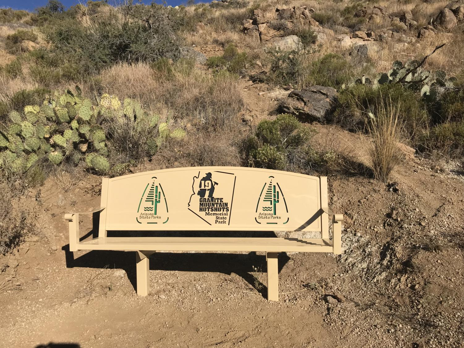 A bench at the Granite Mountain Hotshots Memorial State Park. Photo courtesy of Melissa Shulski.