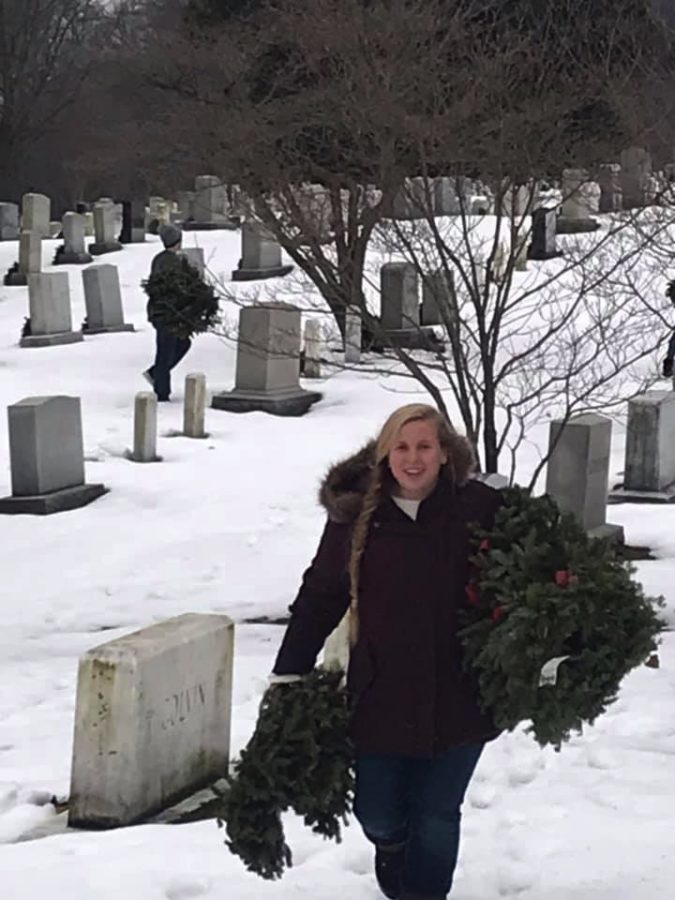 Xavier+freshman+Maggie+Dethlefsen+in+Washington+D.C.%27s+Arlington+Cemetery+after+the+2019+March+for+Life.+Photo+courtesy+of+Jen+Pitera.%0A