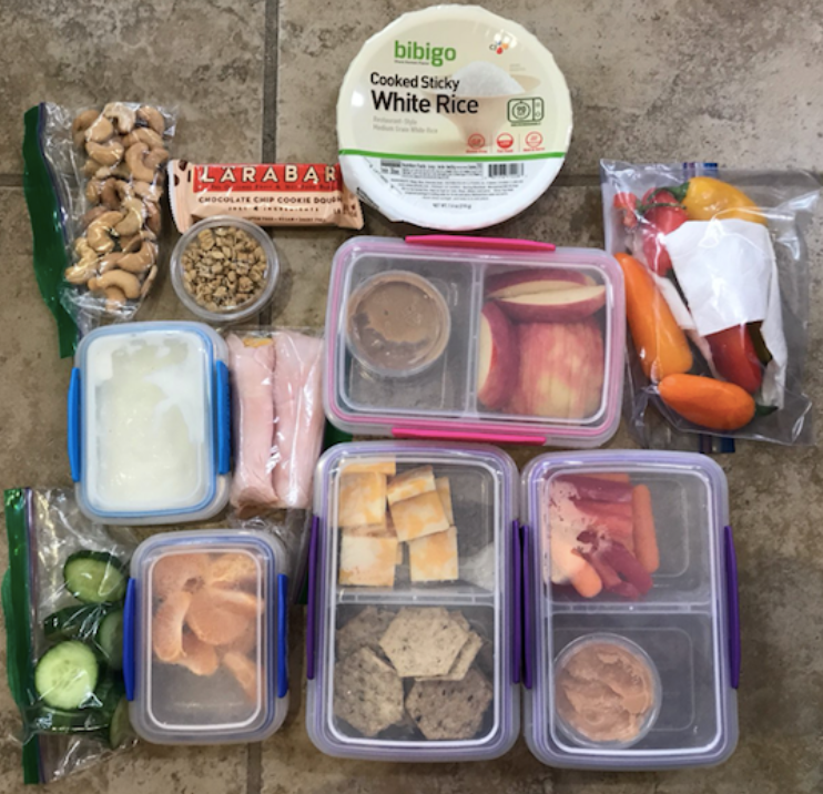 Various+items+from+Xavier+students%E2%80%99+lunches.+It+is+important+to+eat+a+balanced+diet+from+the+five+major+food+groups.+Photo+Courtesy+of++Lily+Tierney+%2719