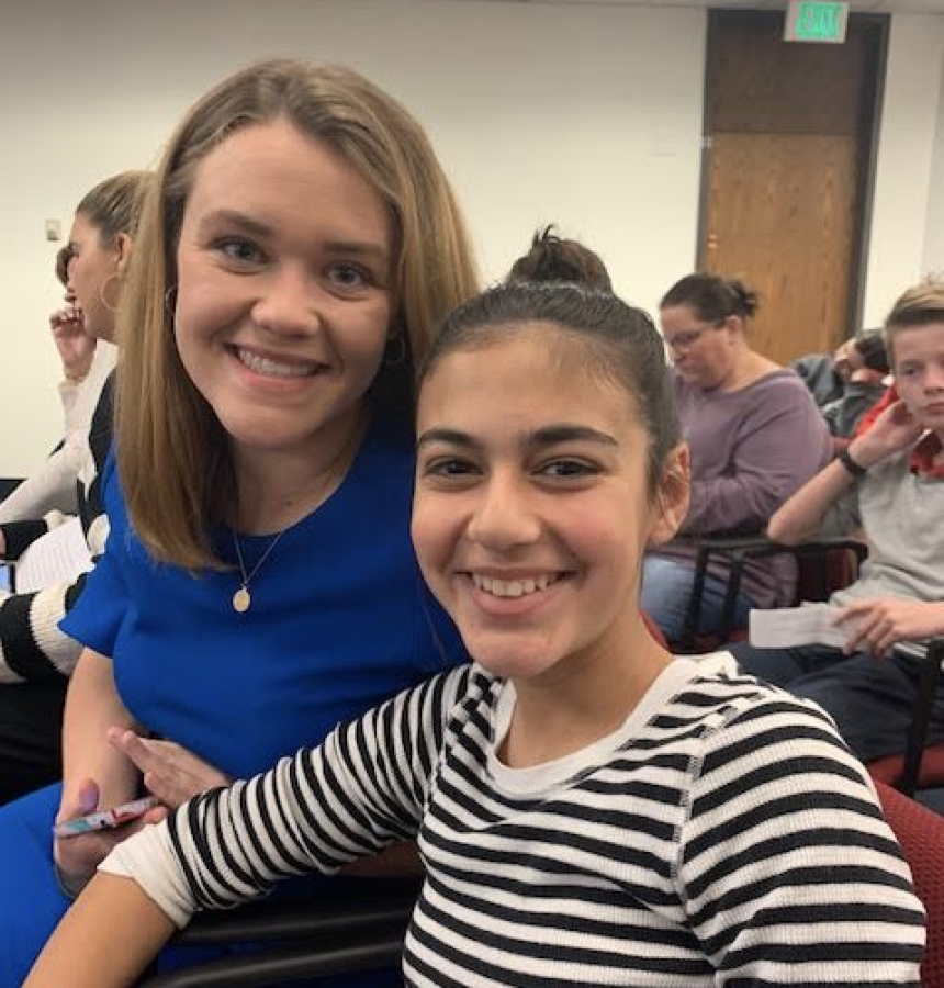 Maeve+Jones+and+Libby+Donaldson%2C+Mrs.+Donaldson%E2%80%99s+youngest+daughter+who+was+diagnosed+with+dyslexia+in+the+third+grade%2C+wait+on+the+Senate+floor+before+Jones+gives+her+speech+regarding+Bill+1318.+Photo+Courtesy+of+Mrs.+Shannon+Donaldson.+