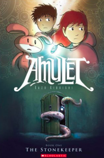 Amulet: The Stonekeeper cover with the main character's  Emily (top right with the lighted Amulet), her brother Navin (behind Emily) and Miskit, a rabbit robot created by their great-grandfather.