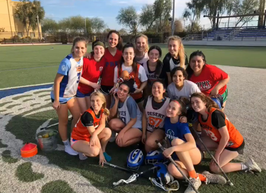 Xavier%E2%80%99s+Lacrosse+team+after+practice%2C+on+Friday%2C+February+22.+Coach+Nevatt+took+this+photo+of+the+girls+huddling+together+as+they+prepare+for+the+upcoming+season.+Photo+Courtesy+of+Kit+Blouin+%E2%80%9820.