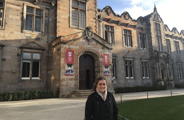 Senior Helen Innes standing in front of the entrance to the University of St Andrews, where she will be attending starting in the fall of 2019. Photo courtesy of Helen Innes '19.