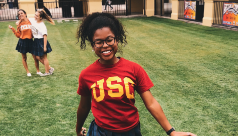 Bisola Ojeniyi '18 repping the USC red and gold on college day at Xavier last year.