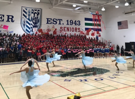 Xavier Spiritline Pom performs their Jazz routine at the Spring Sports Rally. Students and staff alike loved watching their beautiful perform and were left in awe of the talent of Xavier's finest dancers. Photo by Emmie Halter '21.