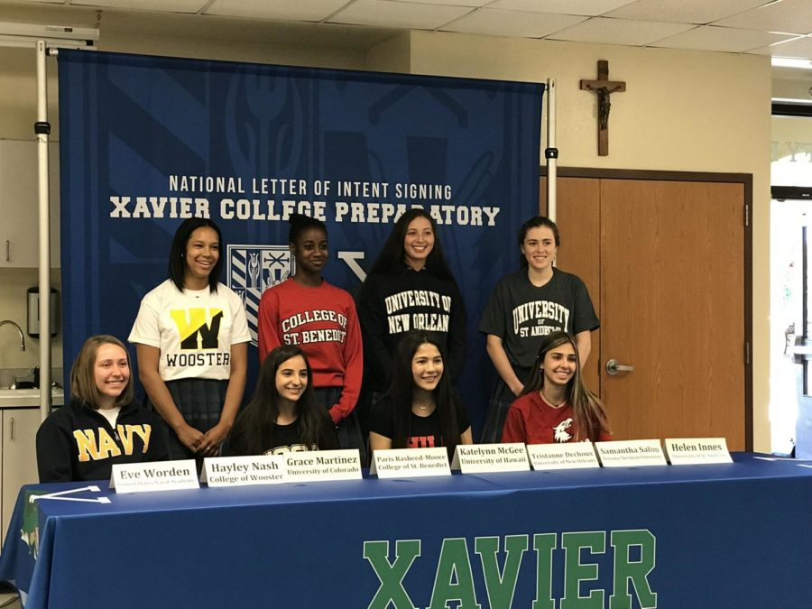On+Wednesday%2C+April+24%2C+eight+Xavier+seniors+signed+National+Letters+of+Intent+to+play+collegiate+sports.+Congratulations+to+these+Xavier+gators+on+this+great+accomplishment%2C+we+can%E2%80%99t+wait+to+see+what+you+accomplish+in+the+future%21+Photo+Courtesy+of+Helen+Innes+%E2%80%9819.+