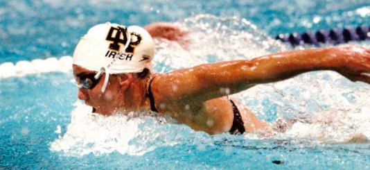 Mrs. Haley Scott DeMaria during her time swimming for Notre Dame, photo credit: What Though the Odds
