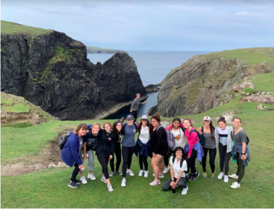 Mrs. Hubbard and a group of Xavier students visit Inishbofin in Ireland while on the Creative Writing trip this past summer. Photo courtesy of Emmie Halter '21.