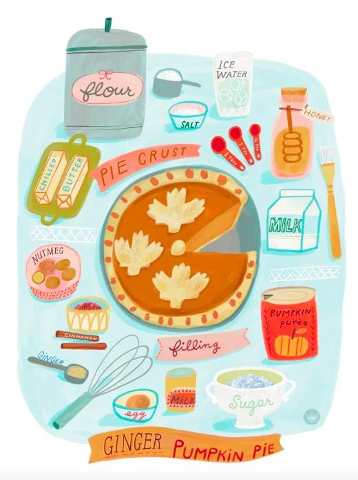 An+illustrated+poster+showcasing+a+wonderful+pumpkin+pie+recipe.+Photo+Credits%3A+Stephanie+Y+at+Hallmark%27s+Think.Make.Share.+
