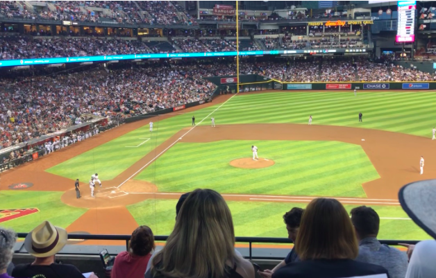 The Yankees vs Diamondback baseball game on April 30, 2019 at Chase Field located in Phoenix, Arizona. Photo credits: Emma McCarthy '21.