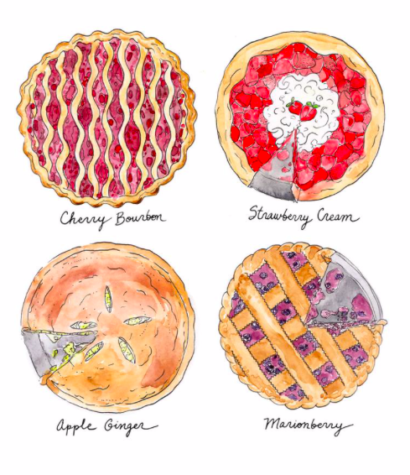 A beautifully drawn illustration of pies.  Photo Credit: MarcellaStudios on Etsy.