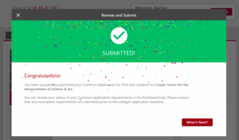 "The rewarding celebration screen that accompanies pressing ""submit"" on your Common Application.  Photo Credit: MakingCaringCommon Project"