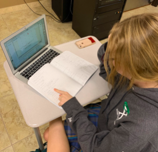 Delainey Maxwell 20' is studying for her College Algebra final on December 4, 2019. Photo Credit: Alissa Celaya '20.