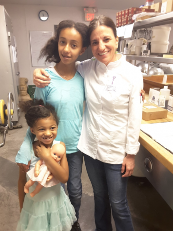 Alexandra Weingard, Maia Weingard and Chef Eugenia Theodospoulos finishing a day of making macarons. Photo courtesy of Tanya Daniels.