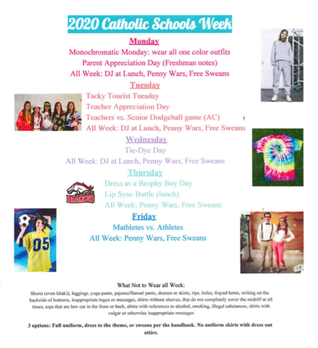 Executive+Board+student+council+worked+hard+to+plan+an+exciting+Catholic+School%27s+week.+Pictured+is+the+schedule+of+events+for+the+week.+Photo+courtesy+of+Ms.+Cahill.