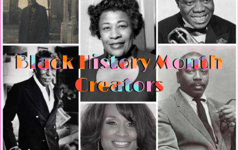 A collage of famous historical African American creators listed below in the article, from top left to top right (William D. Foster, Ella Fitzgerald. Louis Armstrong). From bottom left to bottom right (Gordon Parks, Beverly Johnson, Jacob Lawrence) - Courtesy of Sattu Samura '21