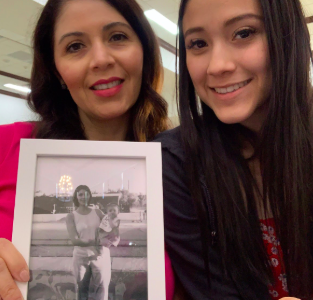 To the right is Alissa Celaya 20' and her mother Allana Cardenas at Xavier College Preparatory Mother/Daughter Farewell event holding a baby picture of Alissa Celaya 20' on February twenty-ninth, twenty-twenty.  Photo Credit:  Alissa Celaya 20'