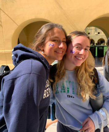Seniors Analy Carbine '20 and Emma Broderick chose to have their graduation year painted on their face to celebrate Traditions Week. Photo credit: Emma Broderick '20.