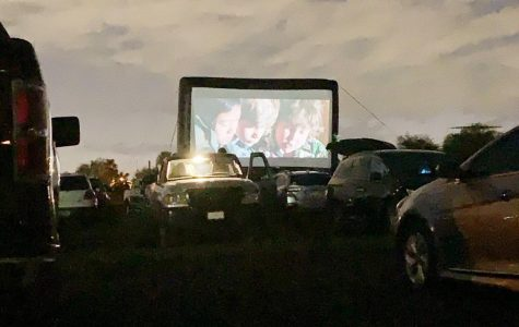 Night falls as The Goonies entertains drive-in guests.