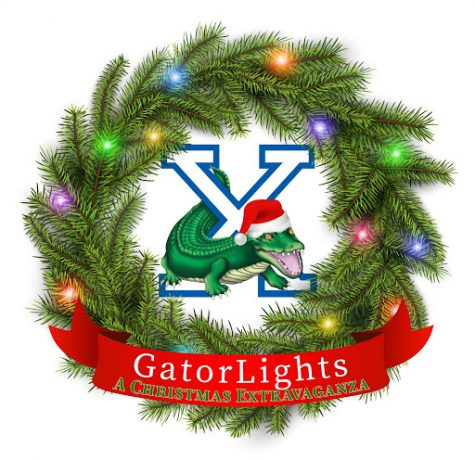 The GatorLights drive-through is a Christmas celebration to be held throughout Xavier's campus on Saturday, November 21 from 6:30-9 PM with display tables made by various Xavier groups. This festive logo was designed by Vanessa Flores.